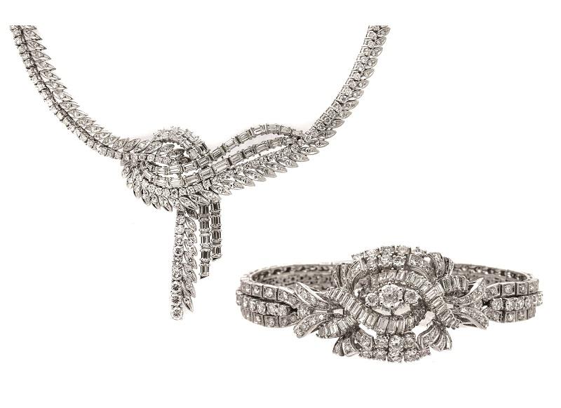 Juego de collar y pulsera en oro blanco con diamantes