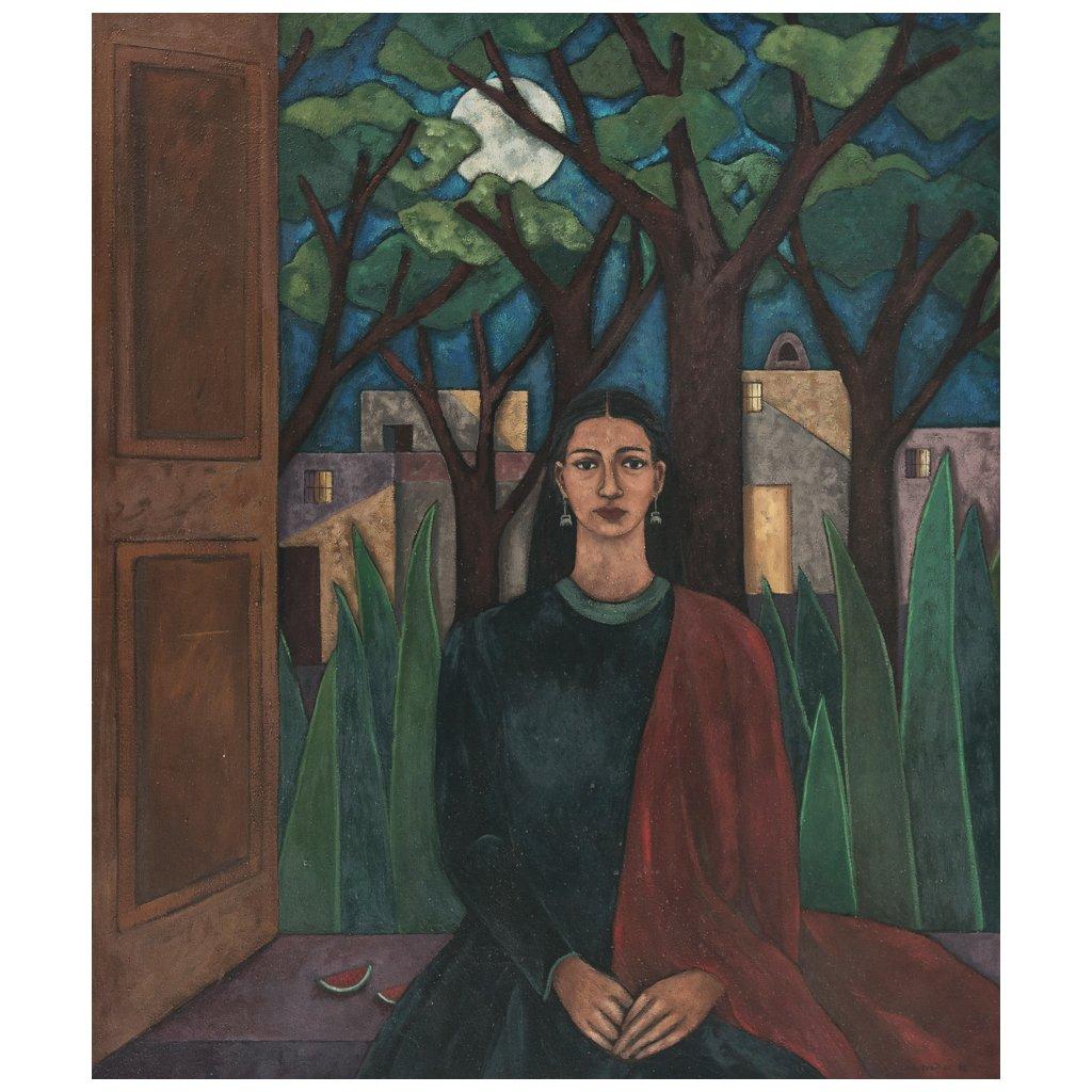 SYLVIA ORDONEZ (*1956) - Autorretrato, Öl und Sand auf Lwd., 112x132 cm, signiert Startpreis: 85.000 MXN (ca. 3.926 EUR)