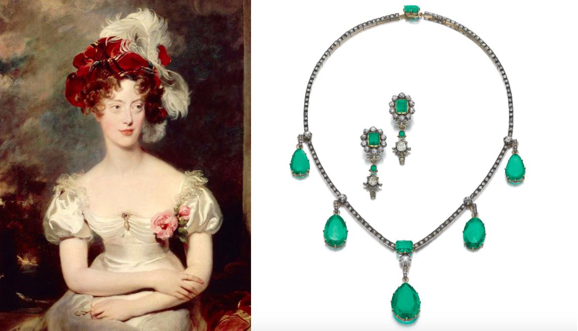 À gauche: La duchesse de Berry à Marignane en 1832, Thomas Lawrence À droite: le collier de la Duchesse de Berry