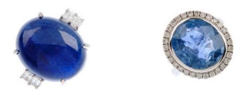 Gauche: Bague saphir birman et diamants Droite: Bague saphir birman de taille ovale et diamants