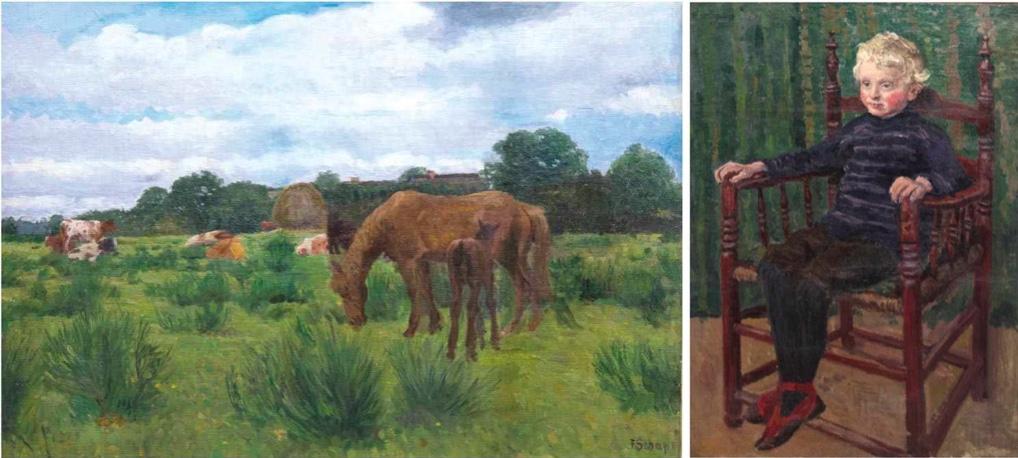 FREIDRICH SCHAPER (1869 Braunschweig-1956 Groß-Borstel) - Norddeutsche Landschaft mit Pferden und Kühen, Öl/Lwd., signiert | Rückseitig: Junge im Lehnstuhl, signiert und datiert, 1909
