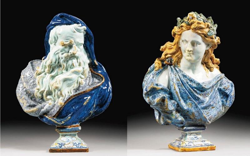Dos bustos de la serie Estaciones en loza de Rouen (1730)