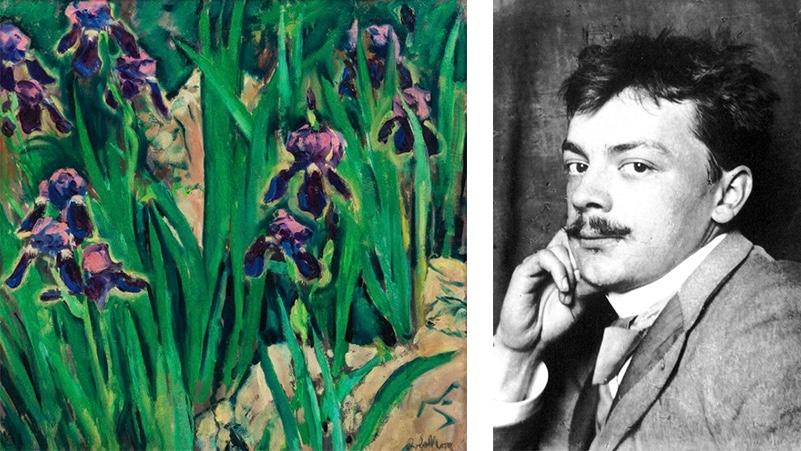 Links: Koloman Moser, Schwertlilien, 1911/14 | Abb.: Auktionshaus im Kinsky Rechts: Koloman Moser | Abb.: Wikipedia