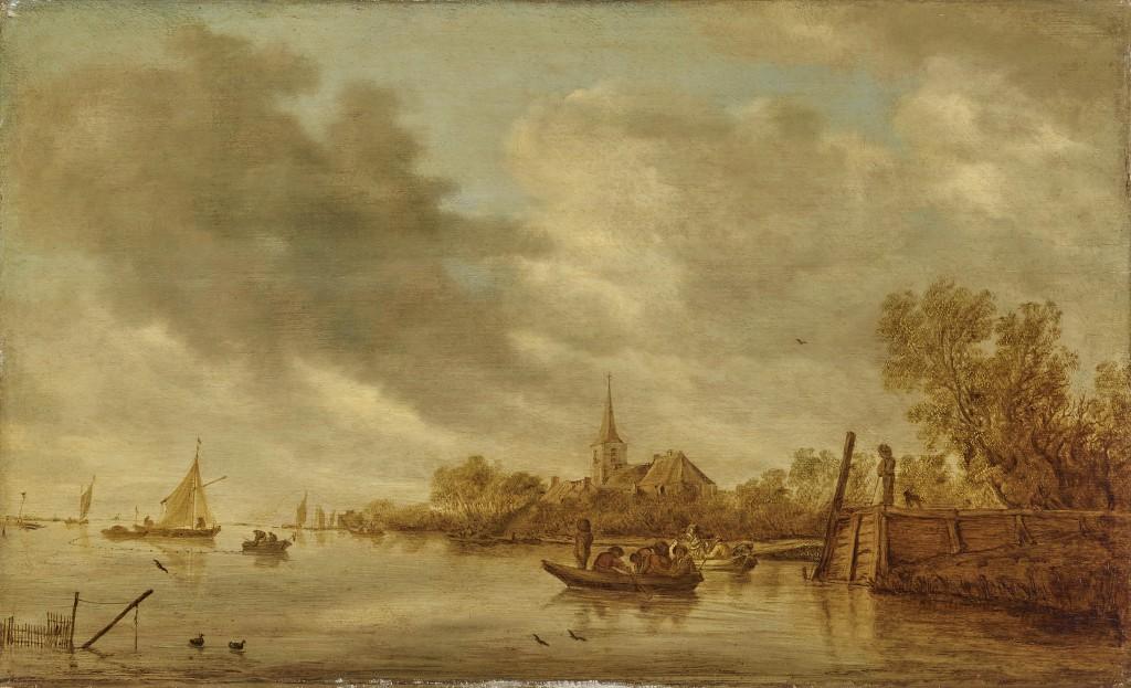 Kat.-Nr. 268 SALOMON VAN RUYSDAEL (um 1600 – 1670) - Flusslandschaft mit hölzernem Anlegeplatz und Fischerbooten, Öl/Holz, 36,9 × 60,9 cm, rechts (auf dem Anlegeplatz) monogrammiert und 1643 datiert Schätzpreis: 35.000-45.000 EUR