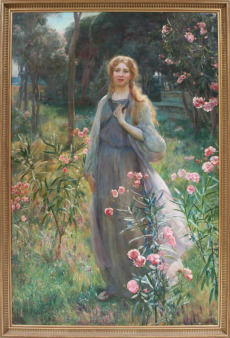 Herbert Arnould Olivier (1861-1952). Kvinna i blommande park. Olja på duk. Signerad H A Olivier a verso samt daterad HAO 1904 a tergo. 153 x 102 cm. Göteborgs Auktionsverk.