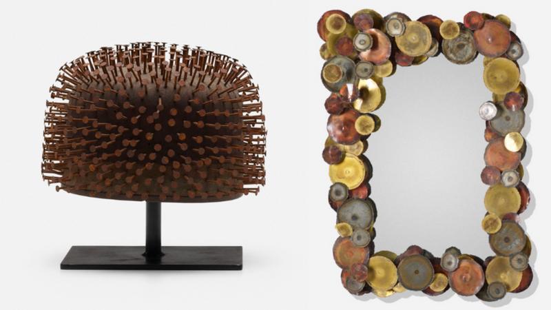 Links: Skulptur aus Nägeln, lackiertem Holz und emailliertem Stahl, Frankreich um 1970 Rechts: Paar Spiegel aus Kupfer, Messing, Stahl und Spiegelglas, Frankreich um 1970