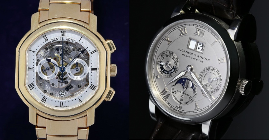 Links: DANIEL ROTH Academic Ellipsocurvex Chronomax Masters Chronograph Silver-Skeleton Ref. 447.X.40.161.CN.BA, GG Rechts: A. LANGE & SÖHNE Langematik Perpetual Platin Ref.310.025, 2007/08