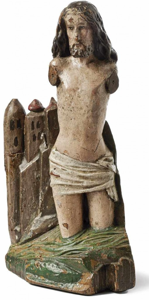 Taufe Jesu im Jordan—Tirol vor architektonischem Hintergrund, farbig gefasstes Holz, Tirol um 1480 Schätzpreis: 1.400 EUR