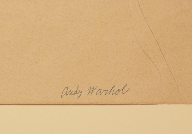 Reverso del dibujo original en papel firmado por Andy Warhol