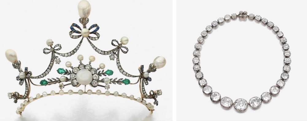 Links: Teil eines Diadems aus Gold und Silber mit Diamanten, Saphiren, Smaragden und Perlen, Ende 19. Jh. Rechts: CHAUMET - Collier aus Silber und Gelbgold mit 37 Diamanten, Mitte 19. Jh.