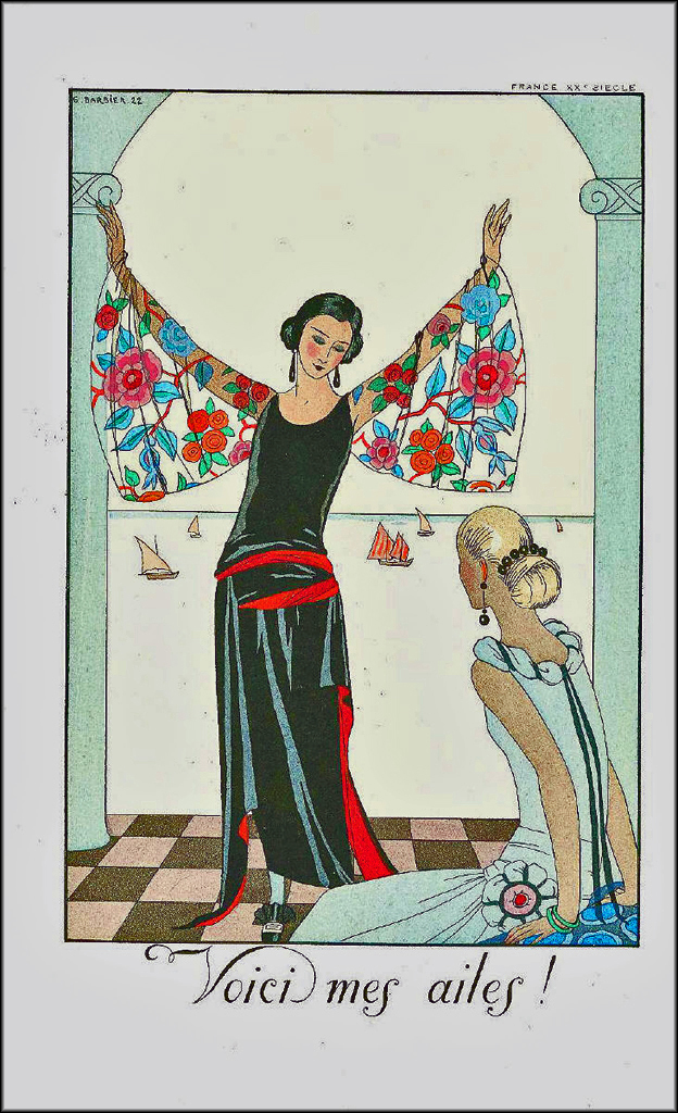 'Voici mes ailes!' ('Here are my wings!')an illustration from a 1922 edition of Barbier's luxury magazine 'Falbalas et Fanfrelyches' Image via http://houseofretro.com/index.php/2013/03/19/george-barbier-the-master-of-art-deco/