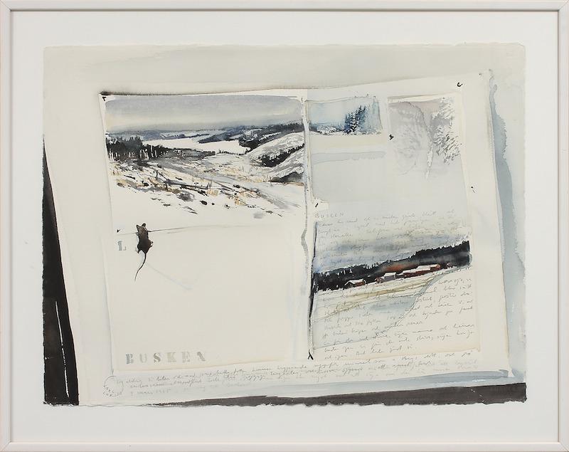 """Lars Lerin (F. 1954). """"Busken"""". Akvarell. Signerad och daterad Lars Lerin 4 mars 1985. 58 x 78 cm."""