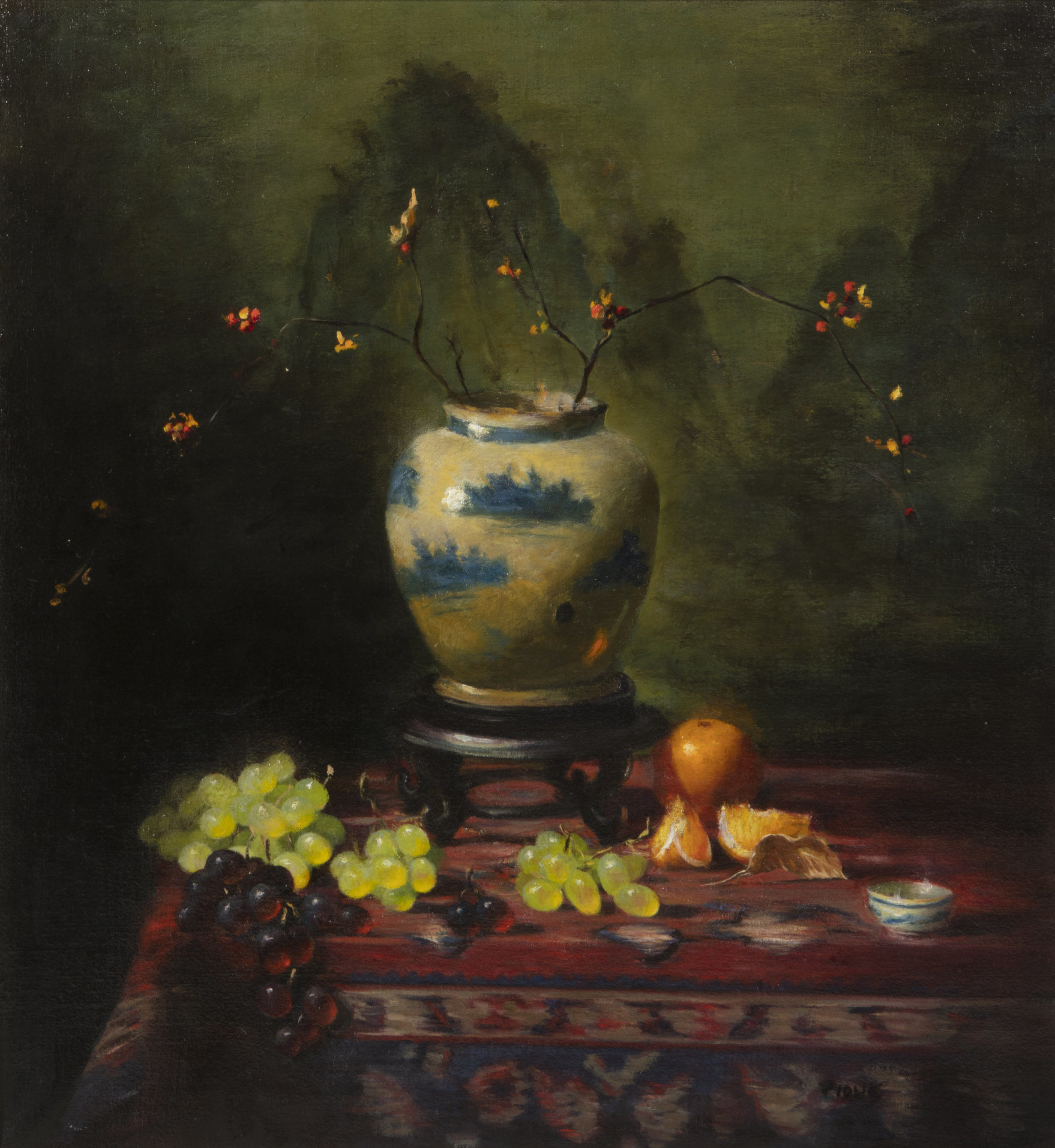 Oil on canvas by Richard Pionk (American, 1936-2007), titled Still Life with Cherry Blossoms in a Chinese Blue and White Vase, signed 'Pionk' lower right (est. $700-$900).