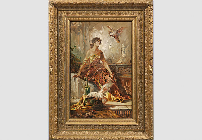 HANS MAKART (1840 Salzburg - 1884 Wien) - Junge Dame mit Kakadus, Öl/Lwd., signiert