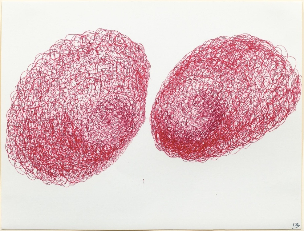 Louise Bourgeois, Glorieux yeux globuleux, red ball pen / paper, titled and monogrammed, 1998