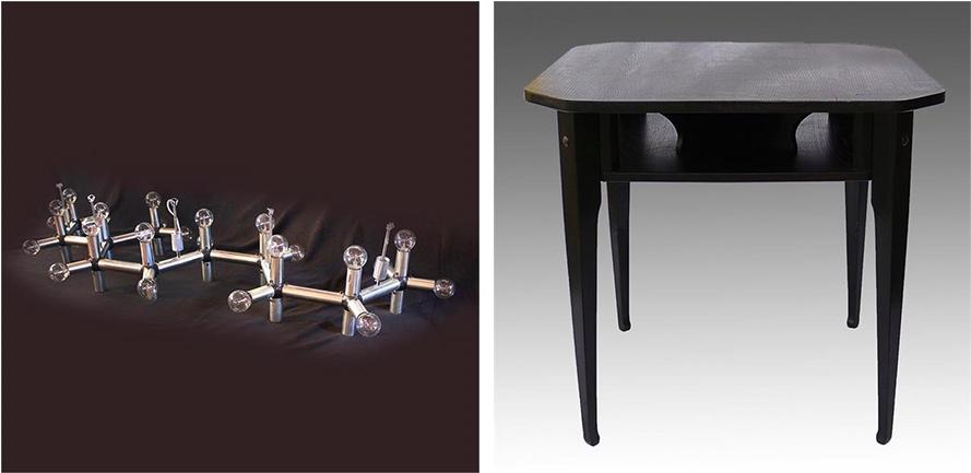 Links: ROBERT HAUSSMANN - Deckenlampe für MOBILIA, um 1970 Rechts: RICHARD RIEMERSCHMID - Spieltisch, Eiche, DRESDENER WERKSTÄTTEN, 1905