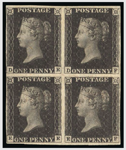 "GB 1840 SG2 Pl.11 Penny Black mint block of four 1840 1d Black Pl.11. An exceptionally fine and fresh four margin unused block of four lettered DE-EF. A magnificent exhibition piece from this, the rarest of the 1d black plates, photographed on pg.99 of Litchfield's ""Guide lines to the penny black""."