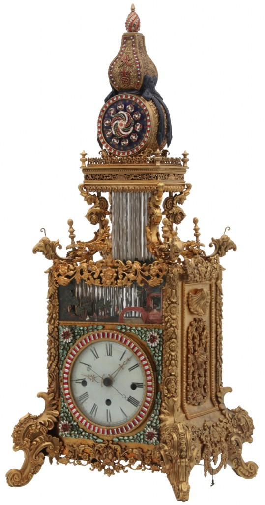 Photo caption: This lovely Chinese animated triple fusee bracket clock is expected to bring $500 000-$750 000. There's a second, similar clock in the sale, too. Image: Fontaine's Auction Gallery