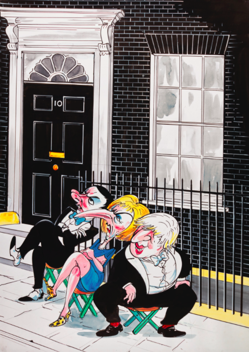 Gerald Scarfe, The Waiting Room [George Orsborne, Theresa May, Boris Johnson]