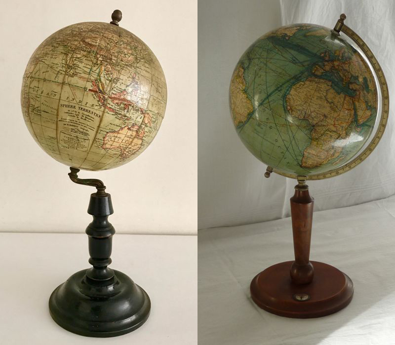 Left: Globe bycartographer J. Lebègue, 1900. Right: The 1920s globe by Adolf Mang. Photos: Catawiki.
