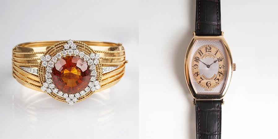 """Links: Vintage Armreif, GG und WG mit Citrin und Brillanten, ROESNER Hamburg, Mitte 20. Jh. Rechts: PATEK PHILIPPE - Herren-Armbanduhr """"Chronometro Gondolo"""", RG, Schweiz 2010"""
