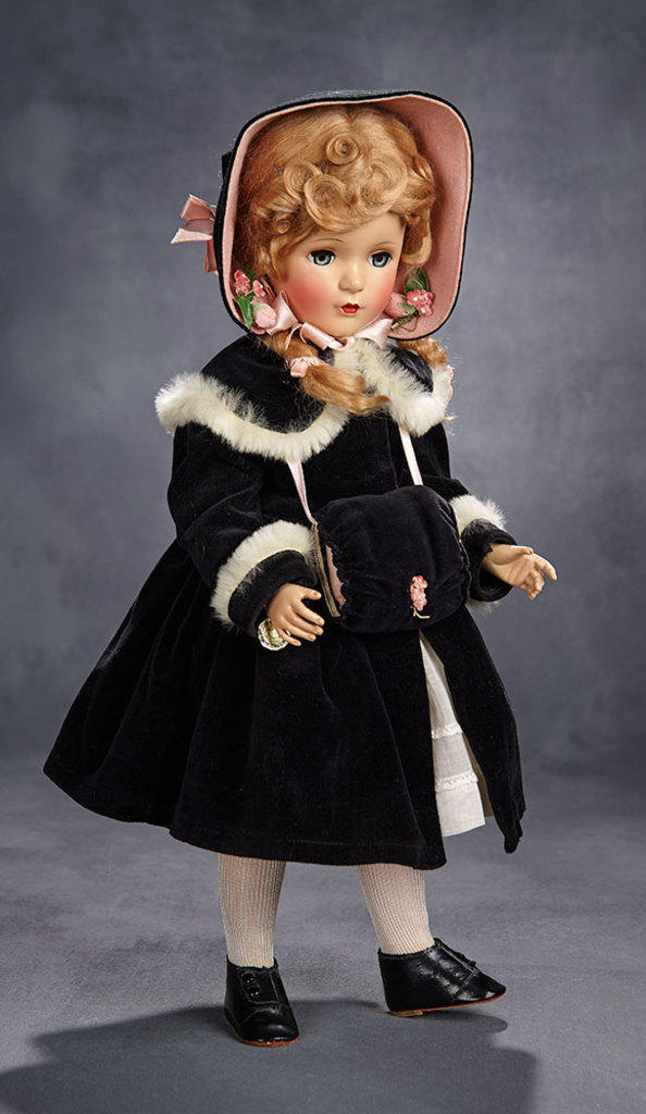 Extremely Rare McGuffey Ana in Black Velvet Fur-Trimmed Coat, 1951