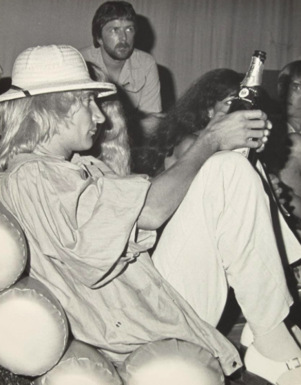 Large scale photograph of Rod Stewart (singer/songwriter) and guests at Studio 54.
