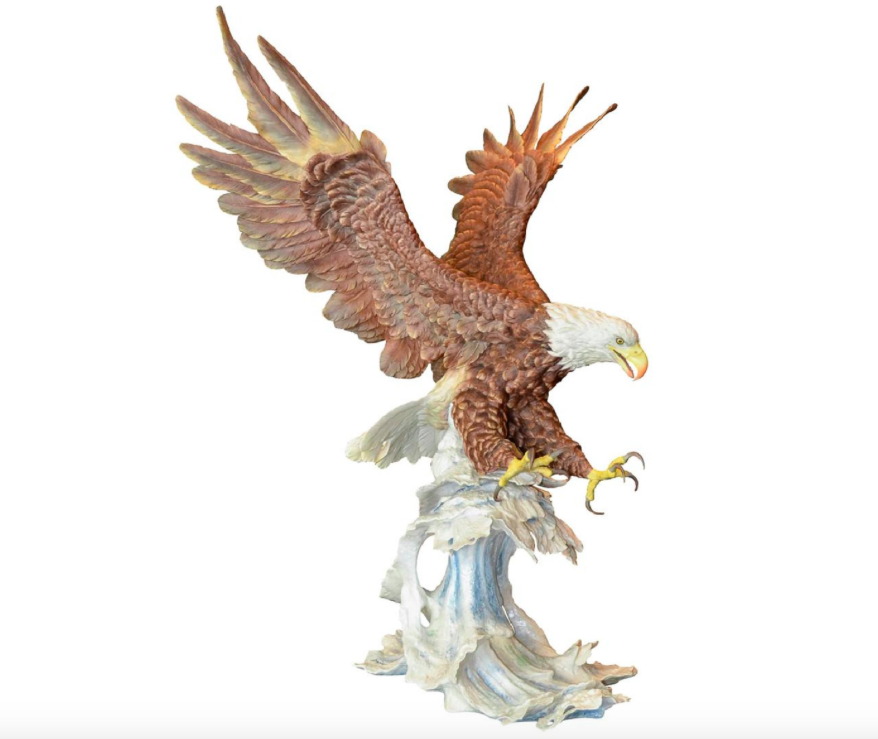 """Boehm Porcelain """"Sea To Shining Sea"""" American Bald Eagle, Bisque Porcelain Decorated, Premiere Size, 1991, Edition Of 100, Hallmark: 403-97."""