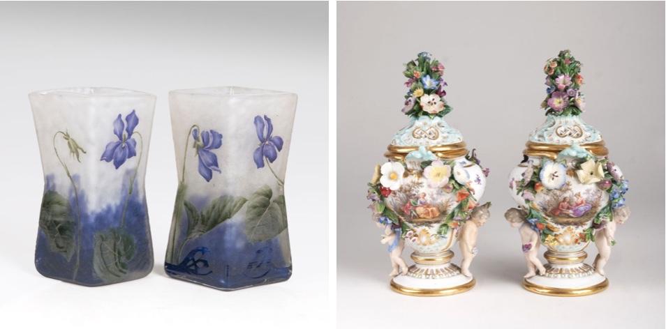 Links: DAUM FRÈRES - Paar Miniatur-Vasen mit Veilchendekor, Nancy um 1900 Rechts: MEISSEN - Paar Potpourri-Vasen mit Blumen- und Puttendekor, um 1860