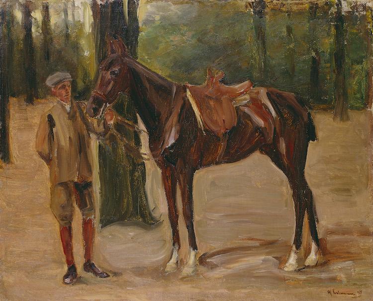 "Max Liebermann. ""Reitknecht mit Pferd"". 1912. Oil on canvas.  Precio mínimo estimado: 60 000 EUR. Grisebach"