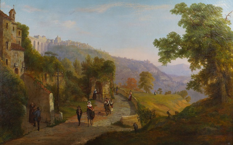 Oil painting depicting a Southern landscape by American artists Joseph C. Ropes from 1860 has an estimate of $7,600-$10,800.