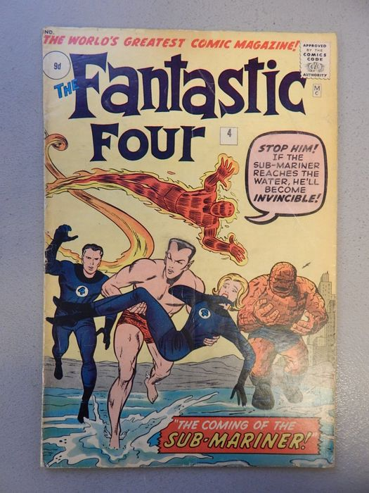 Marvel Comics - Fantastic Four #4 - With 1st Silver Age appearance of Sub-Mariner - 1x sc - (1962) . Foto: Catawiki.