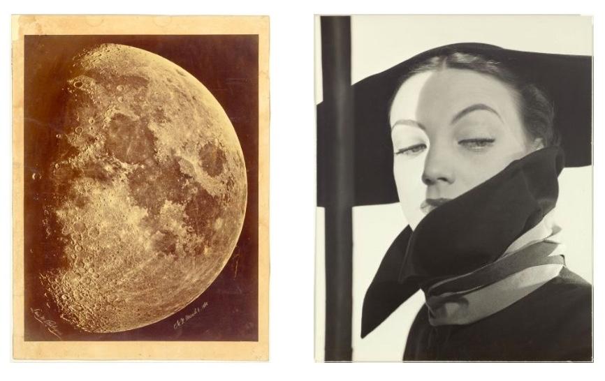 Links: LEWIS MORRIS RUTHERFURD (1816 Morrisania, New York - 1892 Tranquility) - Ansicht des Mondes, Albumin-Abzug, signiert und datiert, 1865 Rechts: ERWIN BLUMENFELD (1897 Berlin - 1969 Rom) - Hat Fashion, Dior, New York, 1946, Silbergelatine-Abzug, bezeichnet