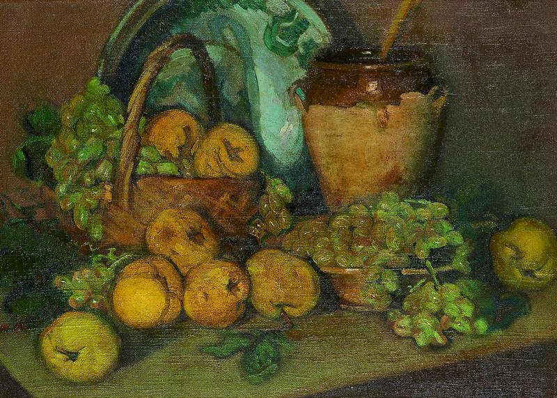 IGNACIO ZULOAGA. Bodegón con membrillos y racimos de uvas (c.1940-1944)