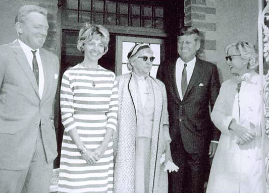 John F Kennedy (far right) and Mary Pinchot Meyer (on the second left.)