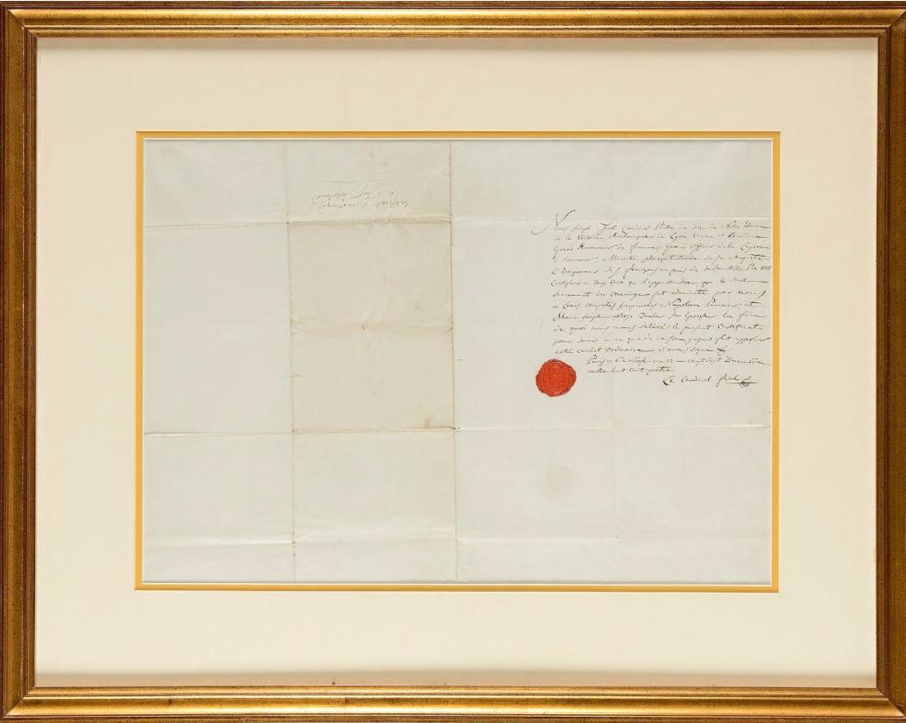 Certifcat de mariage religieux de l'empereur Napoléon Ier et de Joséphine