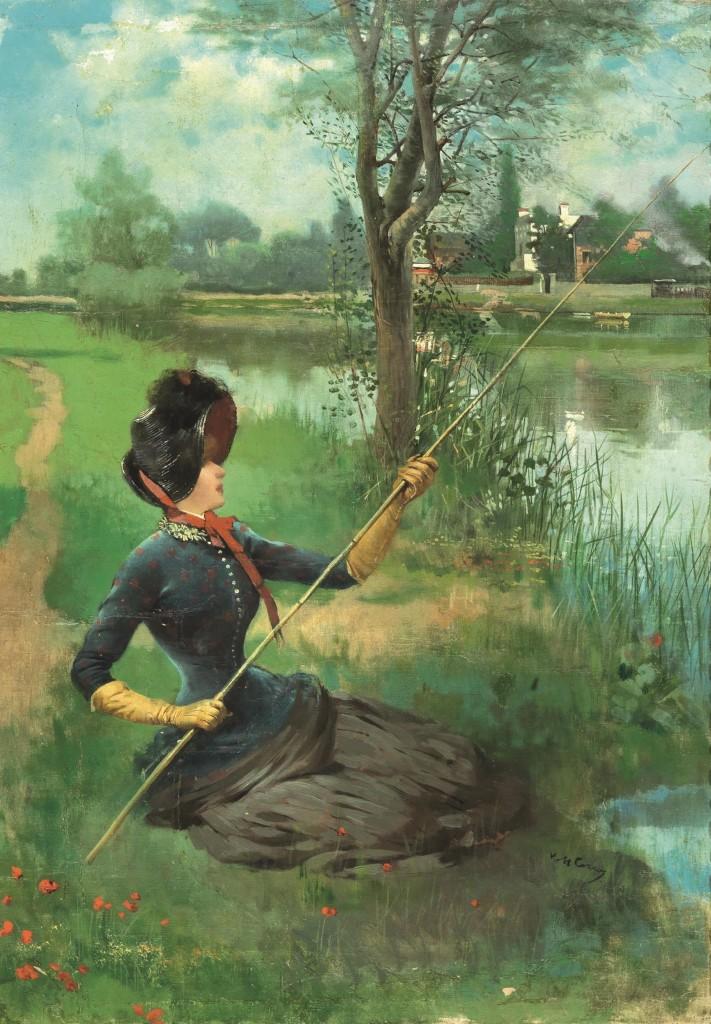 VITTORIO MATTEO CORCOS (Livorno 1859 - Florenz 1933) - Gentildonna a pesca sul fiume, Öl/Lwd., 55 x 38 cm, signiert Schätzpreis: 6.000-8.000 EUR