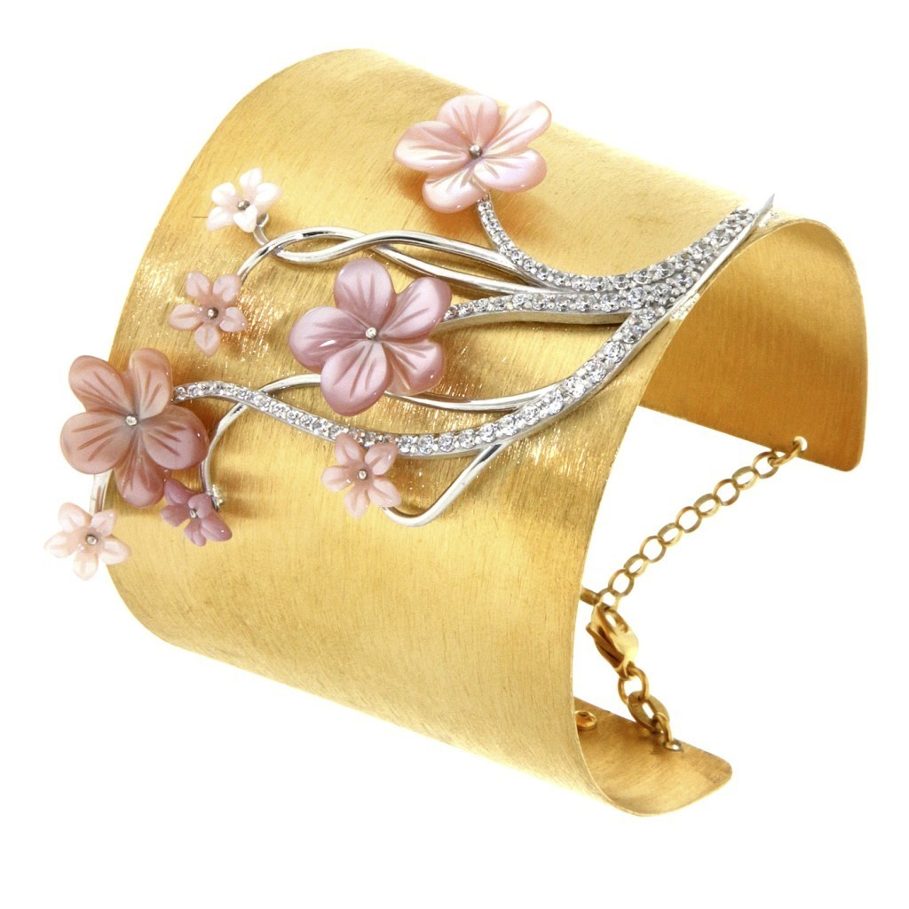 """Misis """"Asolo Schiava"""" bracelet in silver, gold, mother of pearl and zirconium"""