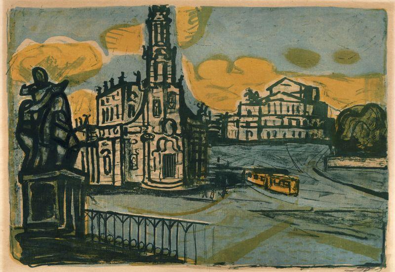 OTTO DIX - Hofkirche in Dresden, Farblithographie, 51,2 x 76,7 cm, signiert, 1955 Schätzpreis: 3.200 EUR