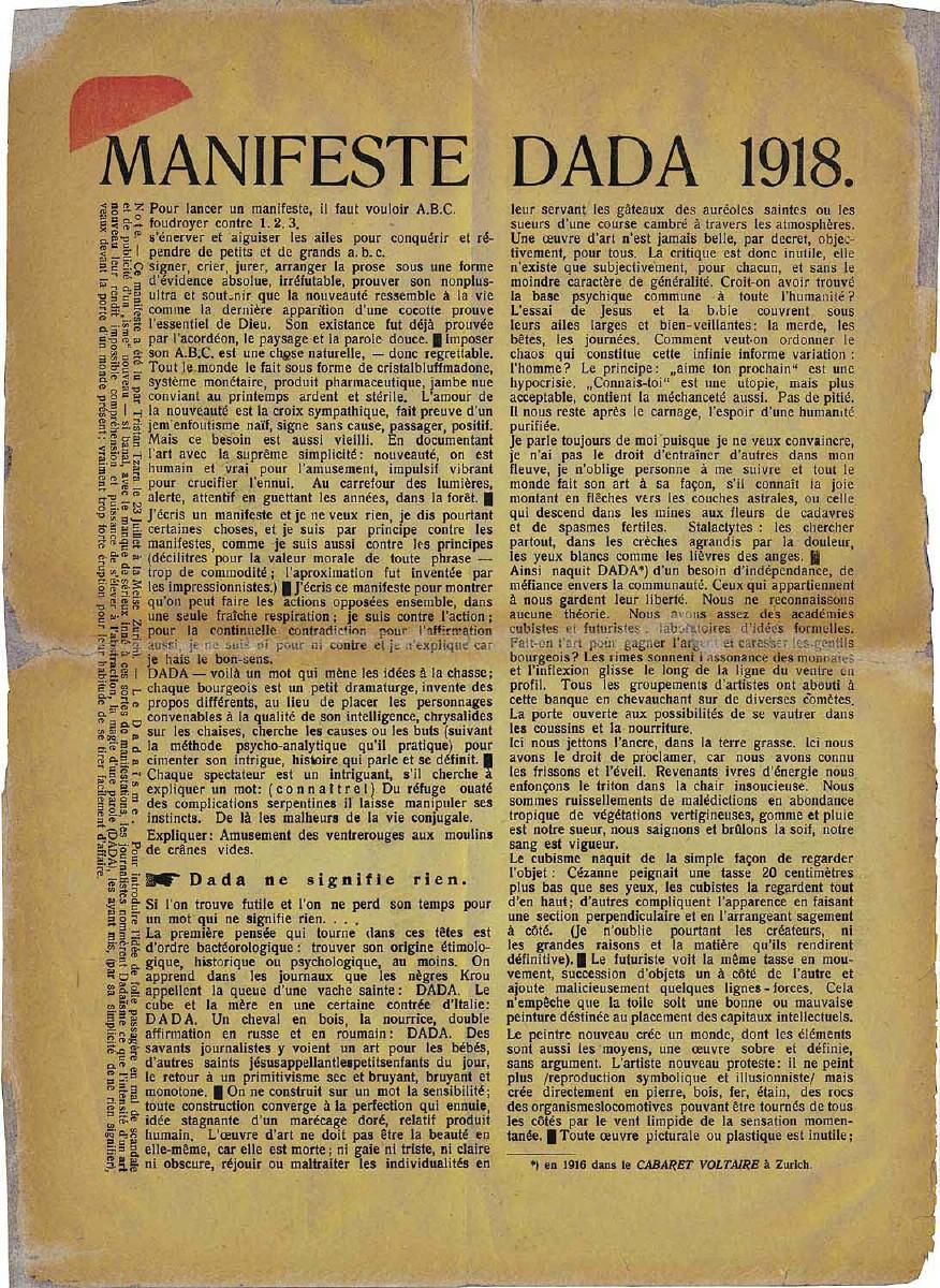 Manifeste Dada. Bild: dadarockt.wordpress.com