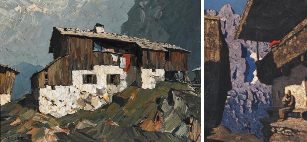 """Vänster: OSKAR MULLEY (1891-1949) - Olja / LWD signerad cirka 1930. Höger: ALFONS WALDE (1891-1958) - """"Lonely Hausung"""", olja / kartong, signerad."""