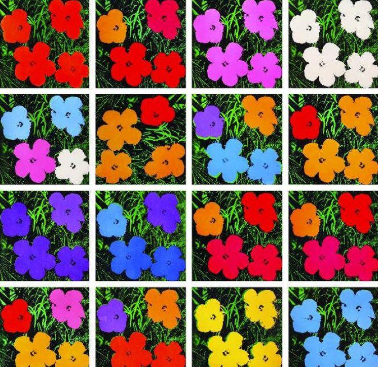 "Andy Warhols ""Flowers"", efter fotografi av Patricia Caulfield. Foto via gardencollage.com."