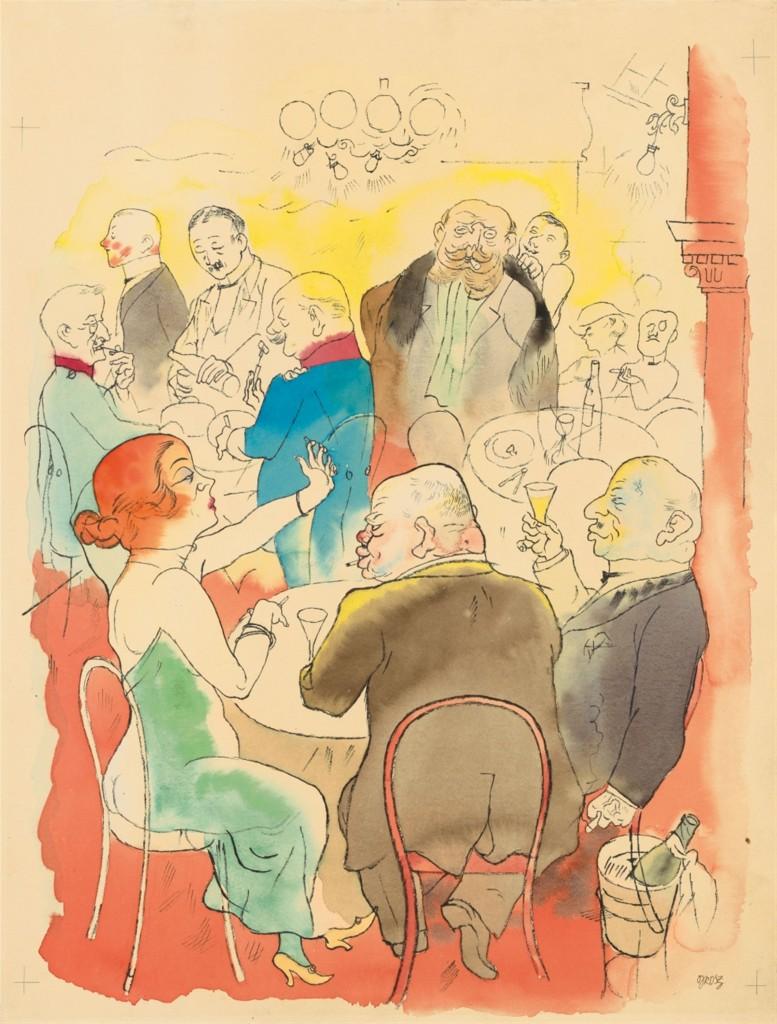 GEORGE GROSZ (1893 - Berlin - 1959) - Soirée, Aquarell, Tuschfeder und Bleistift auf festem Papier, 49,2 x 37,2 cm, signiert, 1922 Schätzpreis: 250.000-350.000 EUR