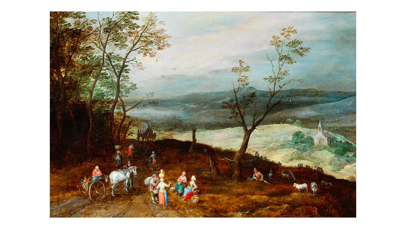 JAN BRUEGHEL D.J. (1601 – 1678) - Weite hügelige Landschaft mit Rast auf der Landstraße, Öl/Holz