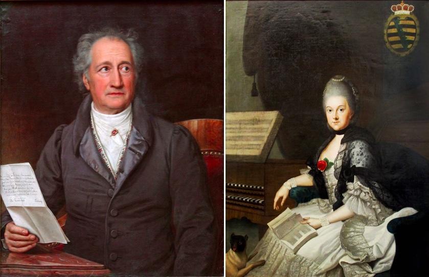Links: Johann Wolfgang von Goethe, Portrait von Joseph Karl Stieler (1828) | Rechts: Herzogin Anna Amalia von Sachsen-Weimar-Eisenach, Portrait von Johann Ernst Heinsius (1769)
