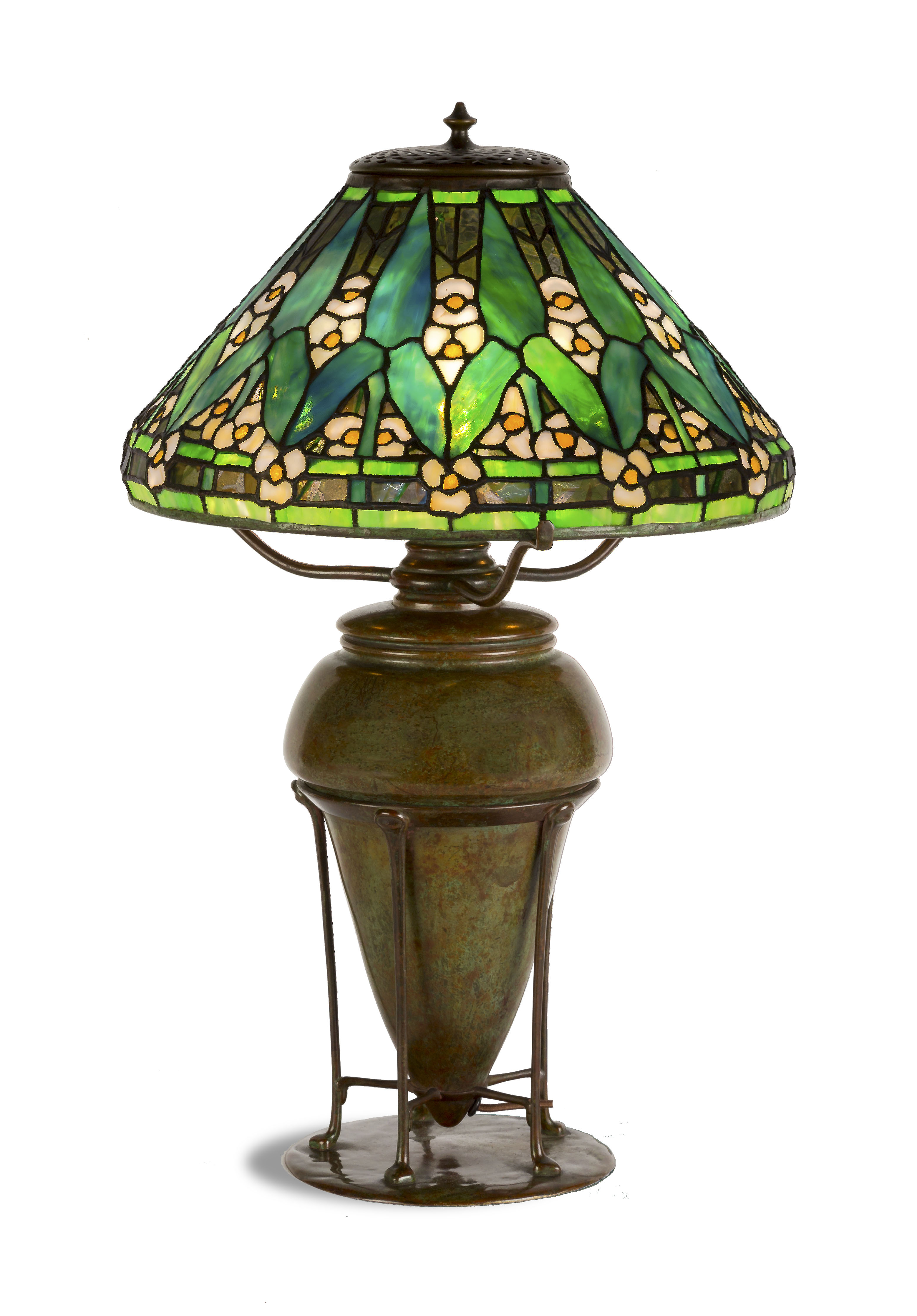 Tiffany Studios (N.Y.) leaded glass and patinated bronze Arrowroot table lamp with a 14 inch shade ($62,500).