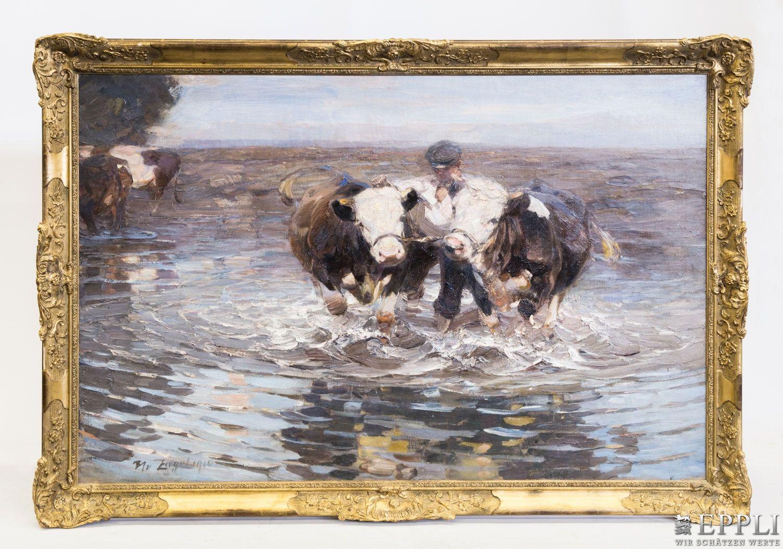 HEINRICH VON ZÜGEL (1850 Murrhardt - 1941 München) - Hüter mit zwei Rindern im Altrhein, Öl/Lwd., signiert und datiert, 1910