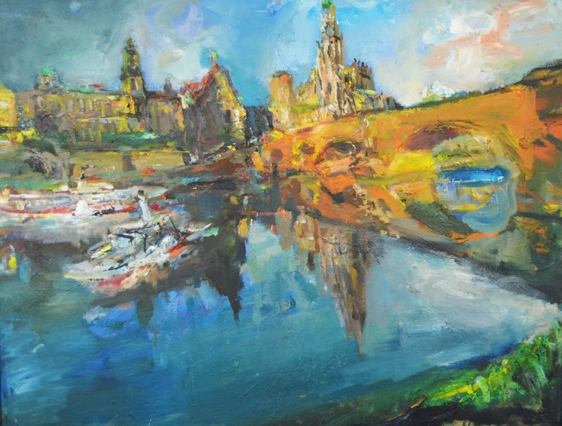 Bernhard Heisig (1925 Breslau - 2011 Strodehne) Ansicht von Dresden mit Augustusbrücke, Öl auf Leinwand, 70,5 cm x 90 cm, unten rechts Heisig signiert, Limit: 19 500 EUR, Zuschlag: 27 000 EUR