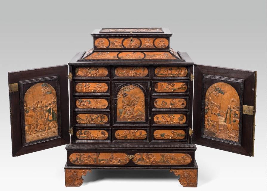 Kabinettschrank, Meister mit dem ornamentierten Hintergrund, Eger, Mitte 17. Jahrhundert Schätzpreis: 30.000-60.000 EUR