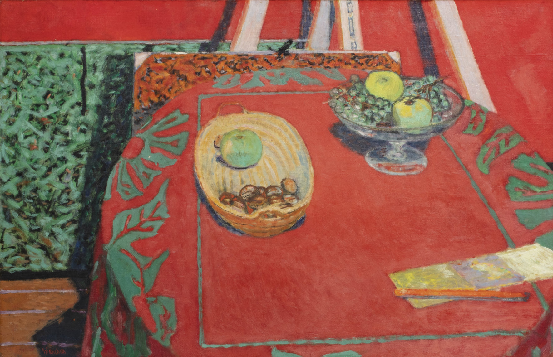 Oil on canvas by Maurice Brianchon (French, 1899-1986), titled Nature Morte au Tapis Rouge, signed 'Brianchon' lower left (est. $10,000-$15,000).